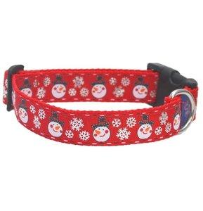 Rood Sneeuwpop Kerst Halsband 25mm