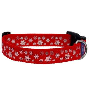 Rood sneeuwvlok zilver Kerst Halsband 25mm