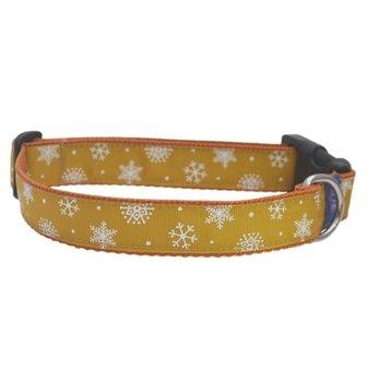 Snowflake Gold Christmas Dog collar 25mm