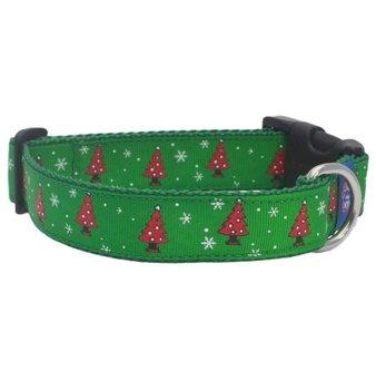 Green Christmas tree Dog collar 25mm