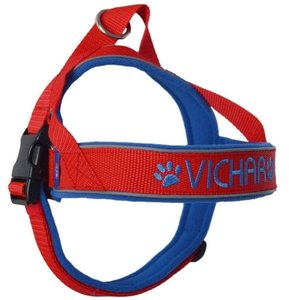 Fleece dog harness with name 40mm