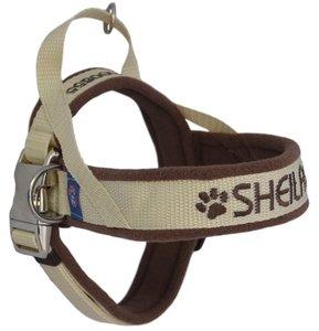 Fleece dog harness with name 25mm