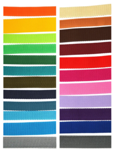 Polypropylene webbing colour samples